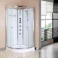 Opus iLock 900 Hydro Shower Cabin 900mm x 900mm Polar White Glass - 20 Minute Build